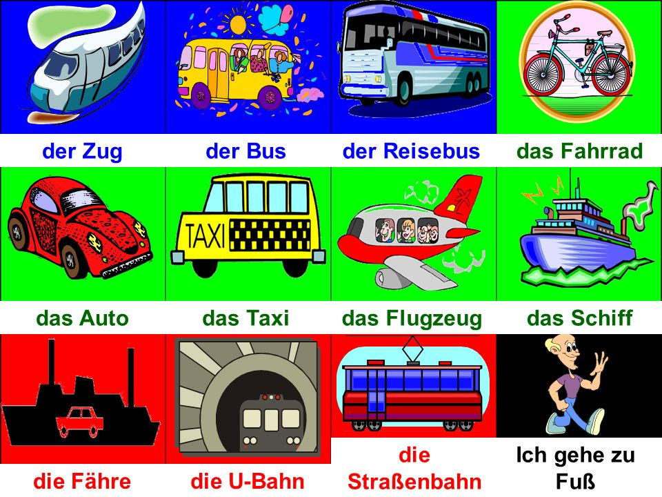 Objectives: Revision of 12 means of transport Revision of the dative case Revison of how to ask a question in German Introduction of 8 adjectives Saying how you go to school and why