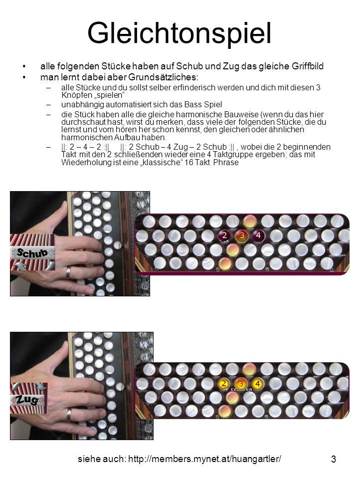 siehe auch: http://members.mynet.at/huangartler/ 4 Für das Bass Spiel ist zu merken und zu automatisieren: –Wechselbass Spiel Walzer: 4 33 2 33 –bei Schub beginne mit 4 (Ringfinger) 2 33 4 33 –bei Zug beginne mit 2 (Zeigefinger [ZZ – Zug – Zeigefinger]) 4 33 2 33 –bei Schub beginne mit 4 Gleichtonspiel einmal richtig gelernt, sparst du den umständlichen Weg des Umlernens und viel Zeit!.