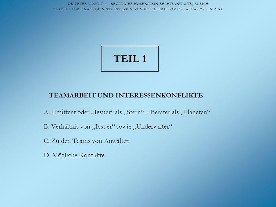 DR. PETER V. KUNZ -- BEGLINGER HOLENSTEIN RECHTSANWÄLTE, ZÜRICH INSTITUT FÜR FINANZDIENSTLEISTUNGEN ZUG IFZ: REFERAT VOM 13. JANUAR 2001 IN ZUG TEIL 1