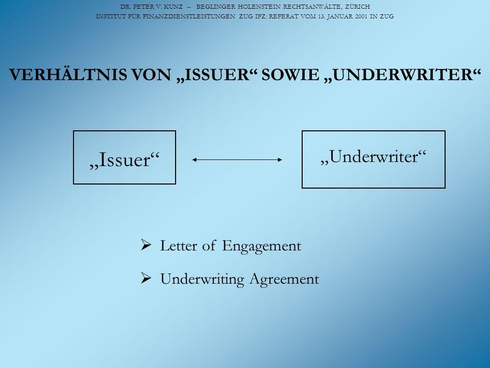 DR. PETER V. KUNZ -- BEGLINGER HOLENSTEIN RECHTSANWÄLTE, ZÜRICH INSTITUT FÜR FINANZDIENSTLEISTUNGEN ZUG IFZ: REFERAT VOM 13. JANUAR 2001 IN ZUG Issuer