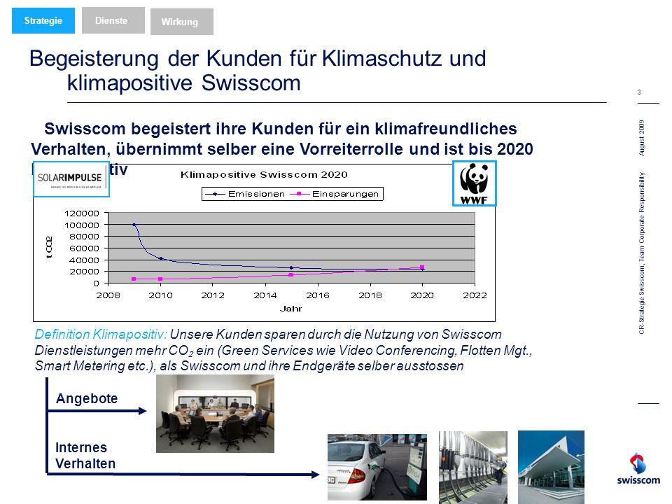 August 2009 3 CR-Strategie Swisscom, Team Corporate Responsibility Begeisterung der Kunden für Klimaschutz und klimapositive Swisscom Wirkung Dienste Strategie Definition Klimapositiv: Unsere Kunden sparen durch die Nutzung von Swisscom Dienstleistungen mehr CO ein (Green Services wie Video Conferencing, Flotten Mgt., Smart Metering etc.), als Swisscom und ihre Endgeräte selber ausstossen Angebote Swisscom begeistert ihre Kunden für ein klimafreundliches Verhalten, übernimmt selber eine Vorreiterrolle und ist bis 2020 klimapositiv Internes Verhalten