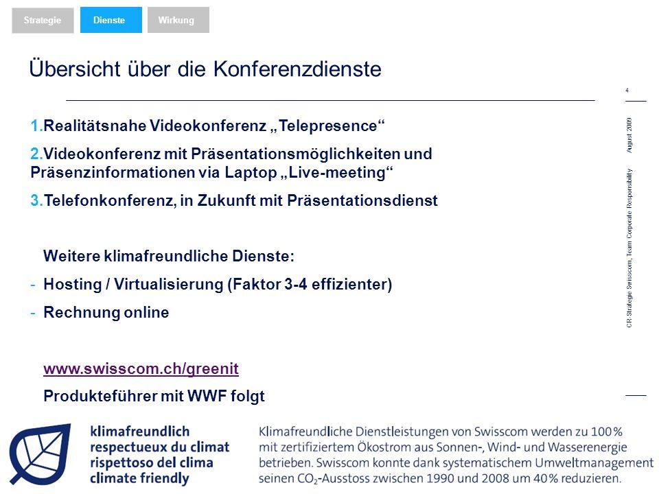 August 2009 4 CR-Strategie Swisscom, Team Corporate Responsibility Übersicht über die Konferenzdienste WirkungDienste Strategie 1.Realitätsnahe Videokonferenz Telepresence 2.Videokonferenz mit Präsentationsmöglichkeiten und Präsenzinformationen via Laptop Live-meeting 3.Telefonkonferenz, in Zukunft mit Präsentationsdienst Weitere klimafreundliche Dienste: -Hosting / Virtualisierung (Faktor 3-4 effizienter) -Rechnung online www.swisscom.ch/greenit Produkteführer mit WWF folgt