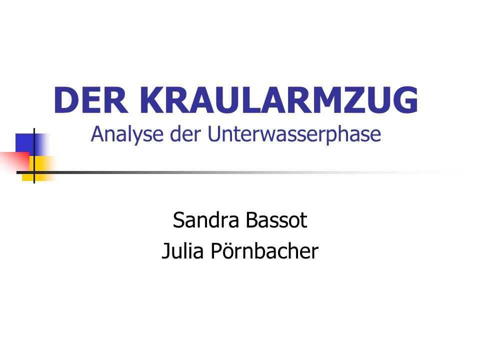 DER KRAULARMZUG Analyse der Unterwasserphase Sandra Bassot Julia Pörnbacher