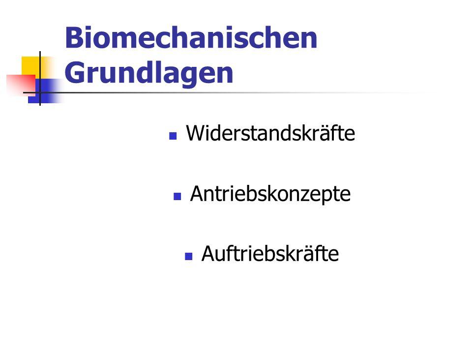 Biomechanischen Grundlagen Widerstandskräfte Antriebskonzepte Auftriebskräfte