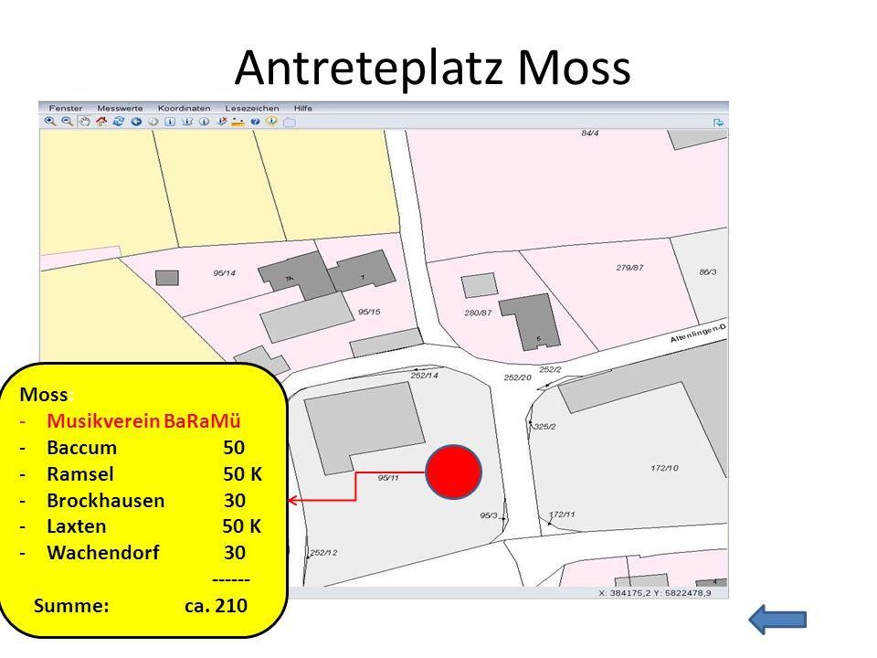 Antreteplatz Moss Moss: -Musikverein BaRaMü -Baccum 50 -Ramsel 50 K -Brockhausen 30 -Laxten 50 K -Wachendorf 30 ------ Summe: ca. 210