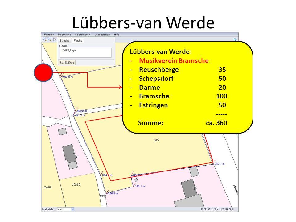 Lübbers-van Werde Lübbers-van Werde: -Musikverein Bramsche -Reuschberge35 -Schepsdorf50 -Darme20 -Bramsche 100 -Estringen 50 ----- Summe: ca. 360