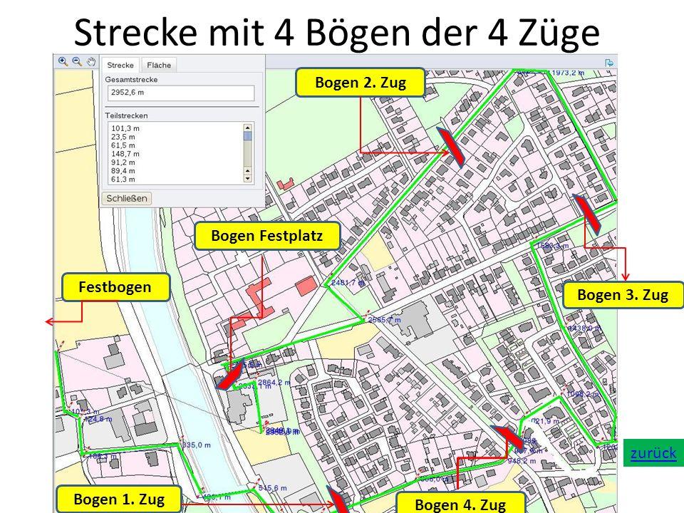 Strecke mit 4 Bögen der 4 Züge Festbogen Bogen 2. Zug Bogen 3. Zug Bogen 4. Zug Bogen 1. Zug Bogen Festplatz zurück