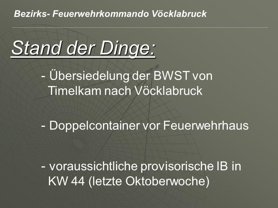 Stand der Dinge: - Übersiedelung der BWST von Timelkam nach Vöcklabruck - Doppelcontainer vor Feuerwehrhaus - voraussichtliche provisorische IB in KW