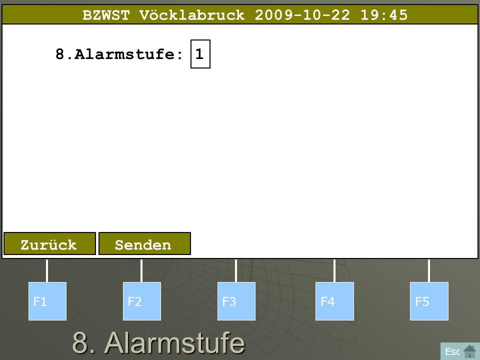8. Alarmstufe F1F2F3F4F5 Esc Zurück 8.Alarmstufe:1 Senden BZWST Vöcklabruck 2009-10-22 19:45
