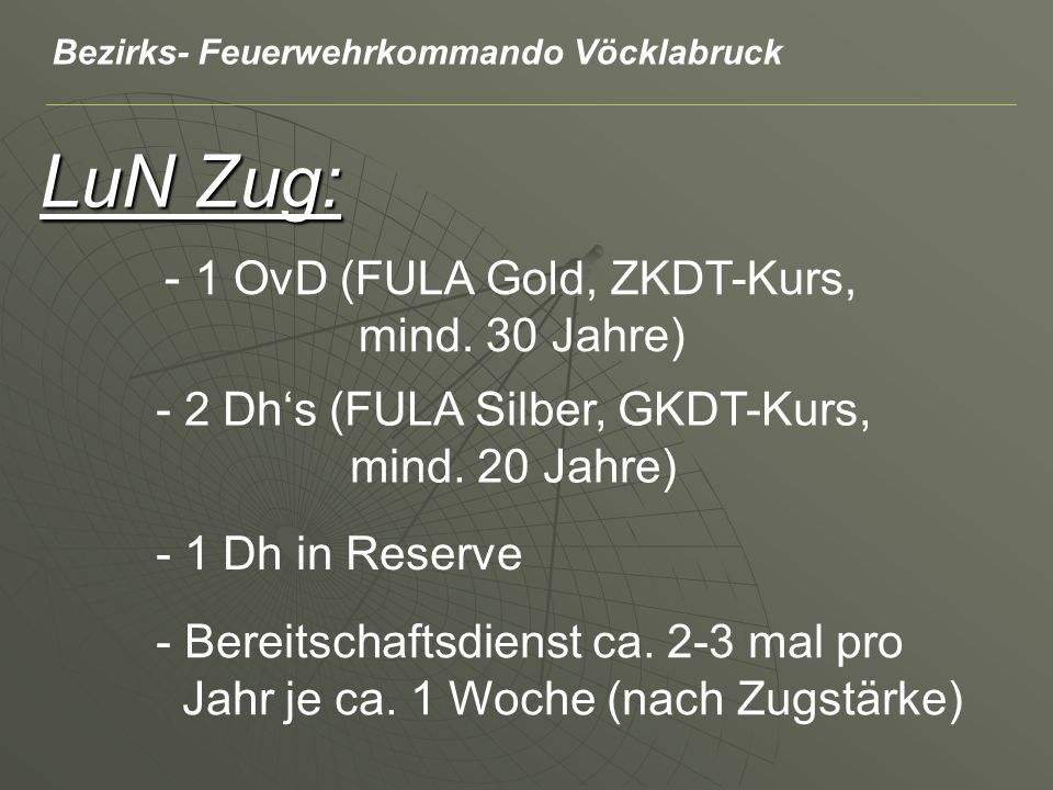 LuN Zug: - 2 Dhs (FULA Silber, GKDT-Kurs, mind. 20 Jahre) - 1 OvD (FULA Gold, ZKDT-Kurs, mind.