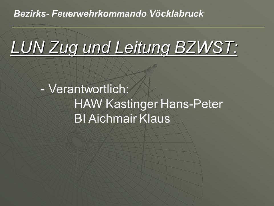 LUN Zug und Leitung BZWST: - Verantwortlich: HAW Kastinger Hans-Peter BI Aichmair Klaus Bezirks- Feuerwehrkommando Vöcklabruck