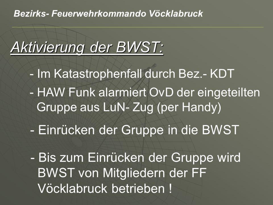Aktivierung der BWST: - Im Katastrophenfall durch Bez.- KDT - HAW Funk alarmiert OvD der eingeteilten Gruppe aus LuN- Zug (per Handy) - Einrücken der