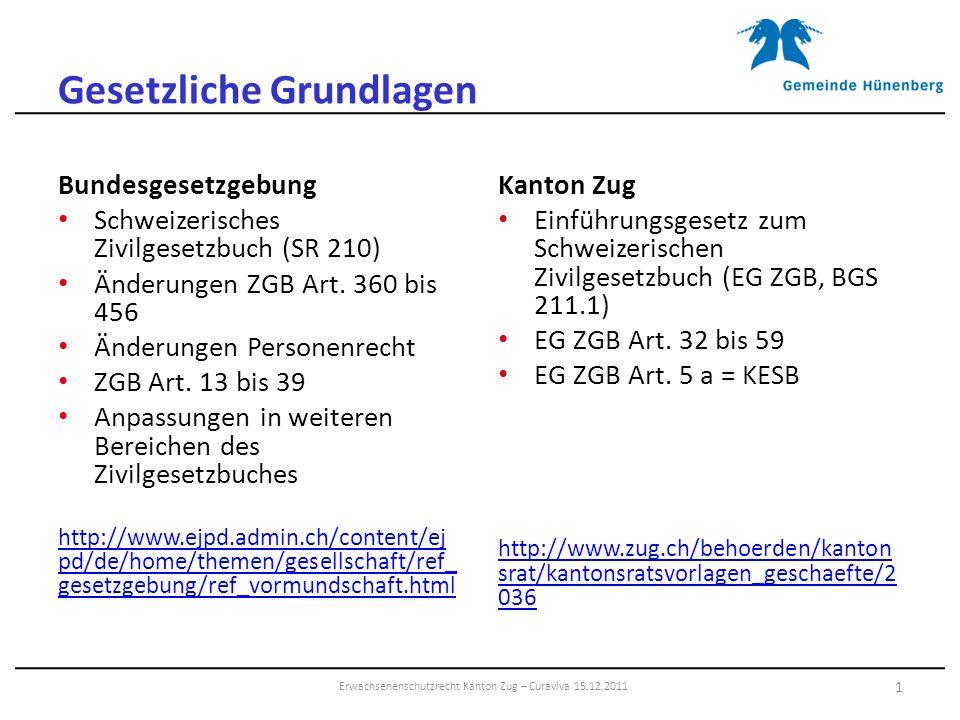 Gesetzliche Grundlagen Bundesgesetzgebung Schweizerisches Zivilgesetzbuch (SR 210) Änderungen ZGB Art. 360 bis 456 Änderungen Personenrecht ZGB Art. 1