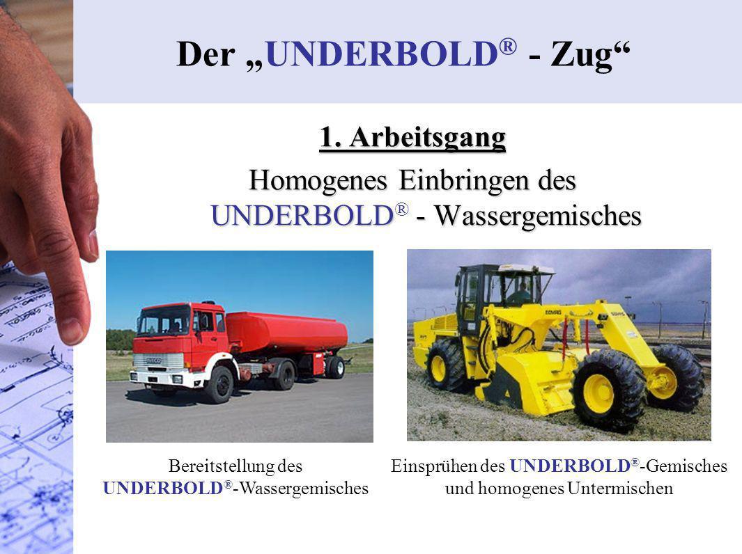 1. Arbeitsgang Homogenes Einbringen des UNDERBOLD - Wassergemisches Homogenes Einbringen des UNDERBOLD ® - Wassergemisches Der UNDERBOLD ® - Zug Berei