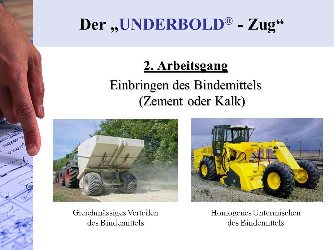 Der UNDERBOLD ® - Zug 2. Arbeitsgang Einbringen des Bindemittels (Zement oder Kalk) Gleichmässiges Verteilen des Bindemittels Homogenes Untermischen d