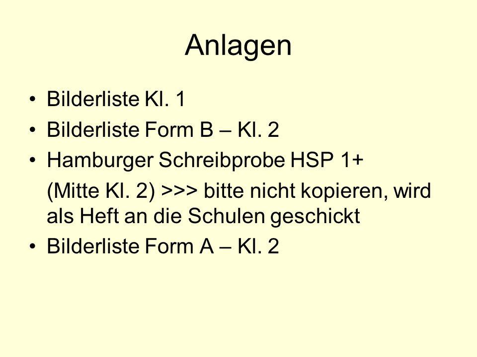 Anlagen Bilderliste Kl. 1 Bilderliste Form B – Kl. 2 Hamburger Schreibprobe HSP 1+ (Mitte Kl. 2) >>> bitte nicht kopieren, wird als Heft an die Schule