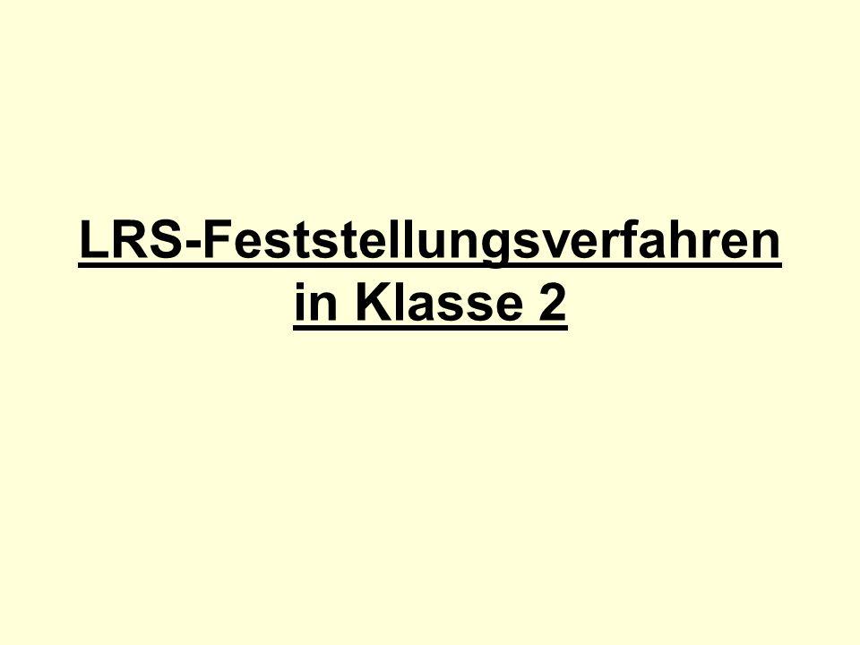 LRS-Feststellungsverfahren in Klasse 2