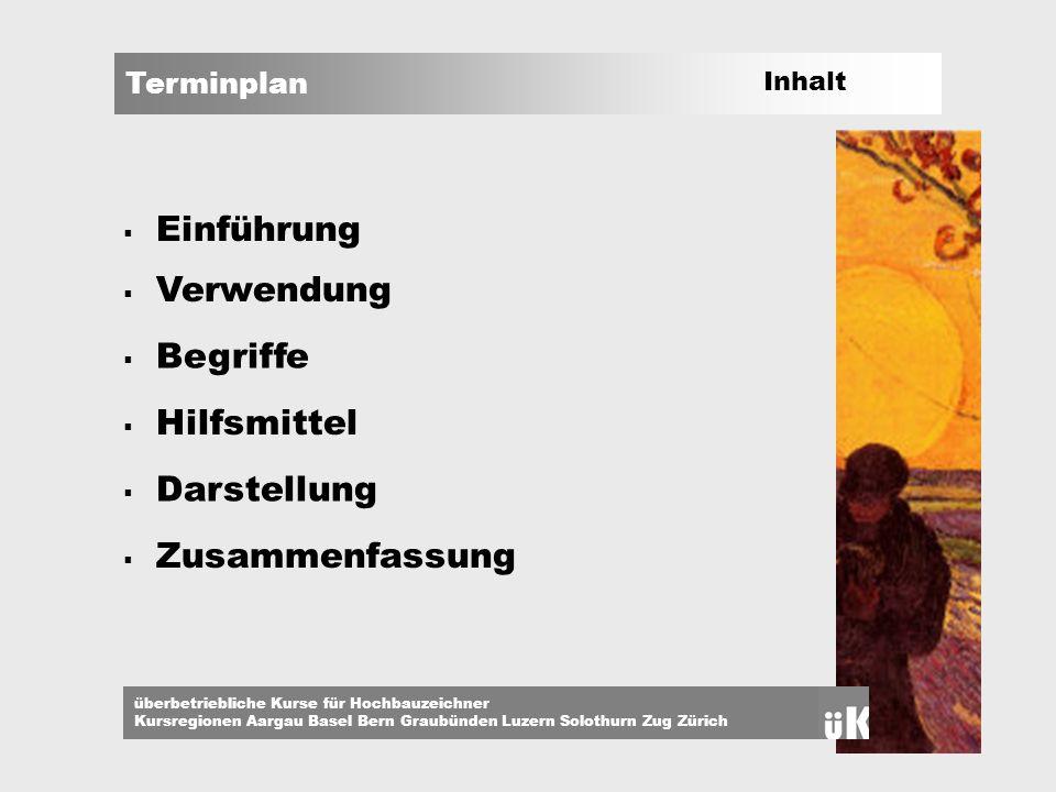 Terminplan überbetriebliche Kurse für Hochbauzeichner Kursregionen Aargau Basel Bern Graubünden Luzern Solothurn Zug Zürich Einführung Termin [lat.; Grenze ] der; -s, -e: a) festgesetzter Zeitpunkt b) Liefer-, Zahlungstag; Frist.
