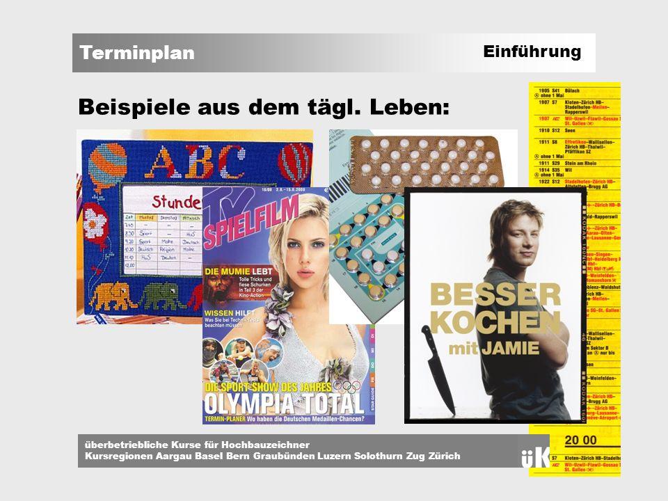 Terminplan überbetriebliche Kurse für Hochbauzeichner Kursregionen Aargau Basel Bern Graubünden Luzern Solothurn Zug Zürich Verwendung = Zentrales Werkzeug für ein Bauwerk dient der Planung sorgt für eine effizientere Zusammenarbeit hilft zur Überwachung des Baufortschrittes unterstützt die Kosten - Kontrolle