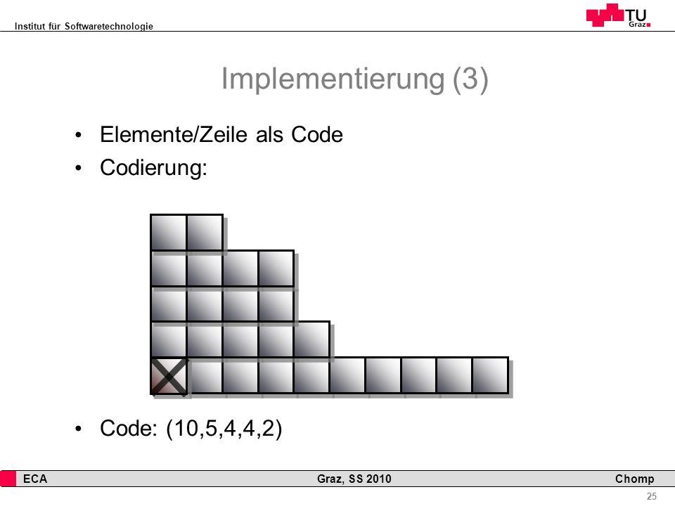 Institut für Softwaretechnologie 25 ECA Graz, SS 2010 Chomp Implementierung (3) Elemente/Zeile als Code Codierung: Code: (10,5,4,4,2)