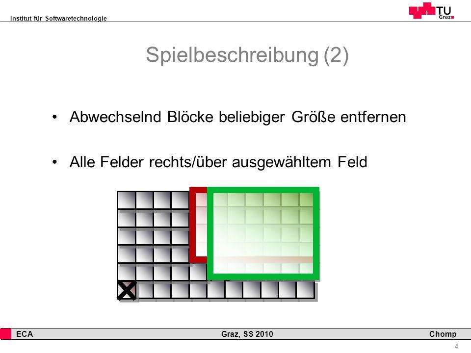 Institut für Softwaretechnologie 4 ECA Graz, SS 2010 Chomp Spielbeschreibung (2) Abwechselnd Blöcke beliebiger Größe entfernen Alle Felder rechts/über