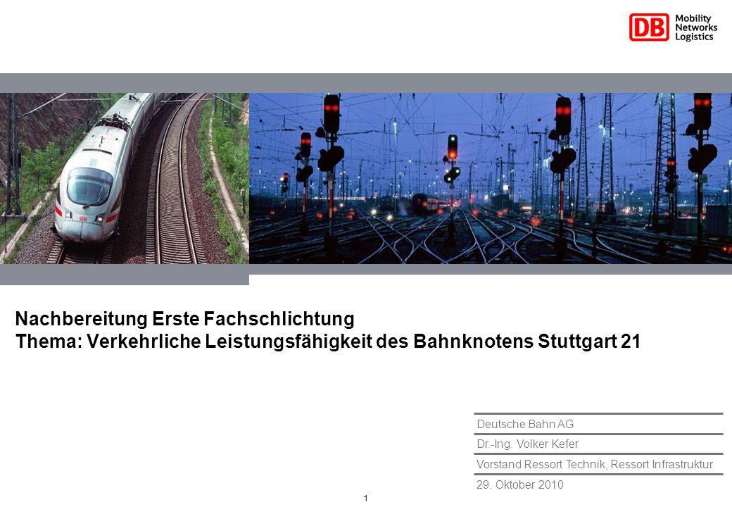 1 29. Oktober 2010 Vorstand Ressort Technik, Ressort Infrastruktur Dr.-Ing. Volker Kefer Deutsche Bahn AG Nachbereitung Erste Fachschlichtung Thema: V