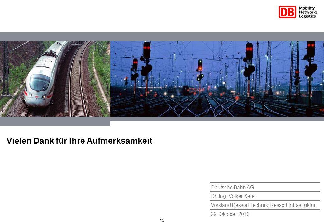 15 29. Oktober 2010 Vorstand Ressort Technik, Ressort Infrastruktur Dr.-Ing. Volker Kefer Deutsche Bahn AG Vielen Dank für Ihre Aufmerksamkeit