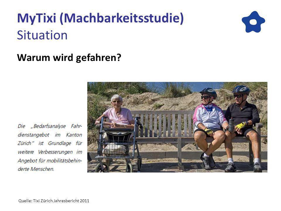 MyTixi (Machbarkeitsstudie) Situation Warum wird gefahren Quelle: Tixi Zürich Jahresbericht 2011