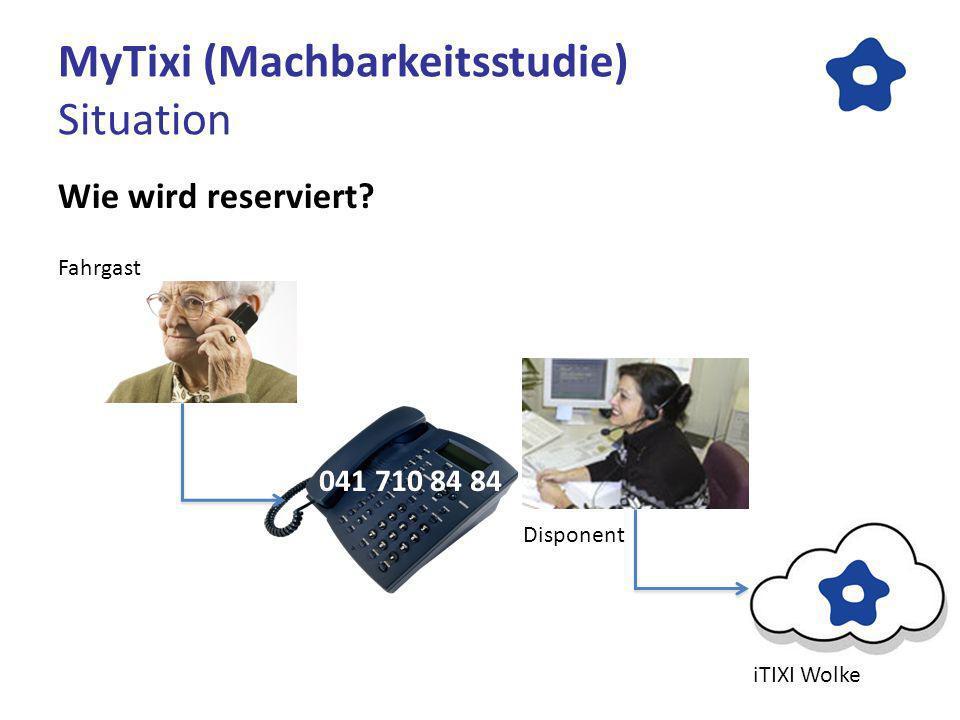 MyTixi (Machbarkeitsstudie) Situation Wie wird reserviert? 041 710 84 84 iTIXI Wolke Disponent Fahrgast