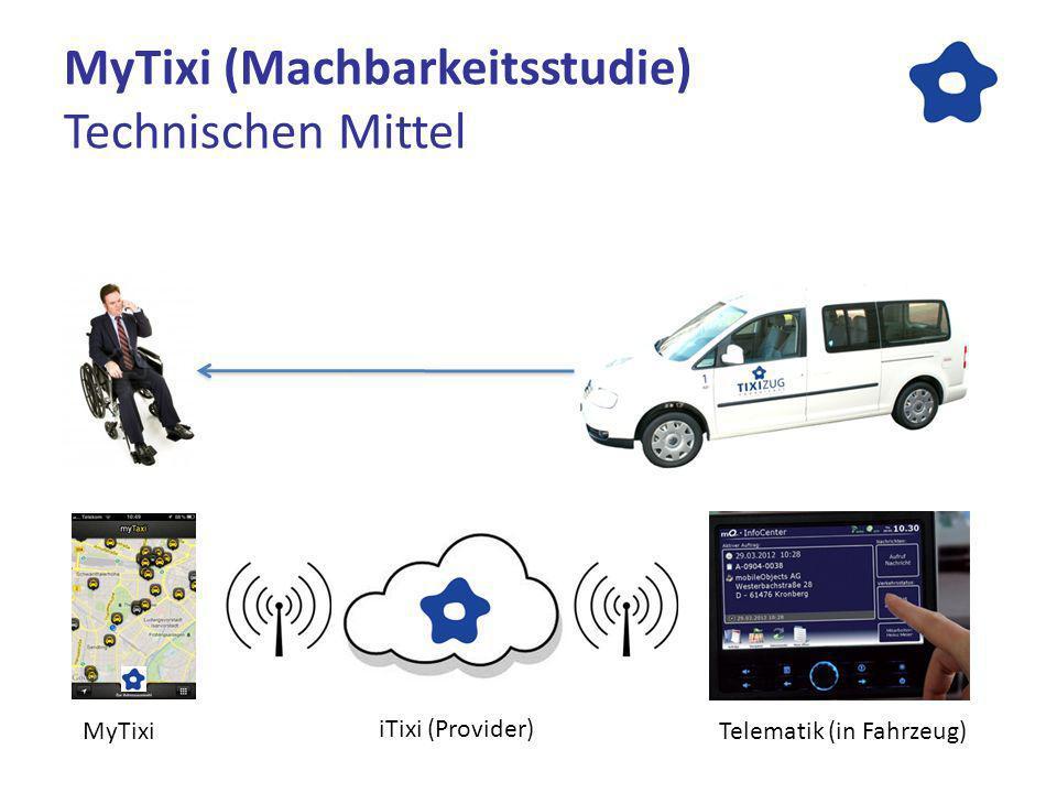 MyTixi (Machbarkeitsstudie) Technischen Mittel MyTixi iTixi (Provider) Telematik (in Fahrzeug)