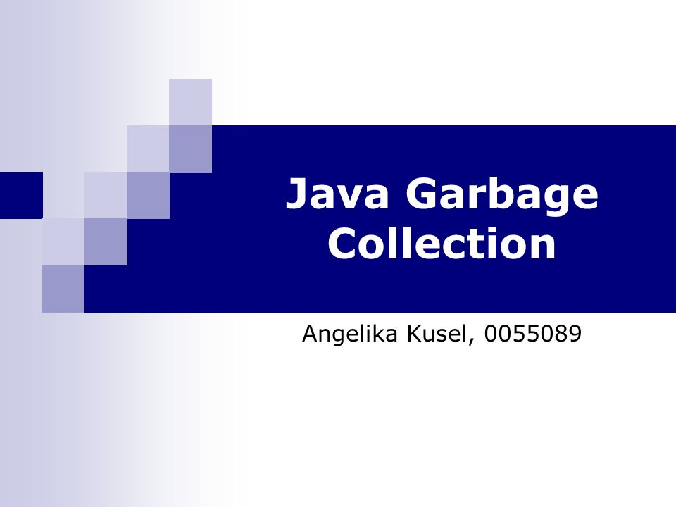 Java Garbage Collection Angelika Kusel, 0055089