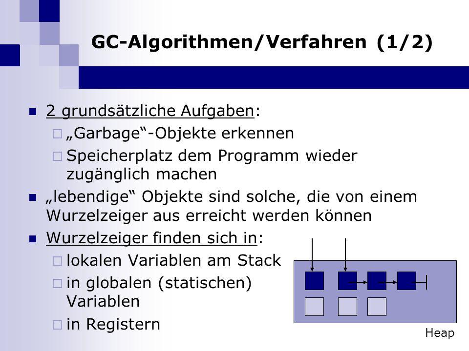 GC-Algorithmen/Verfahren (1/2) 2 grundsätzliche Aufgaben: Garbage-Objekte erkennen Speicherplatz dem Programm wieder zugänglich machen lebendige Objek