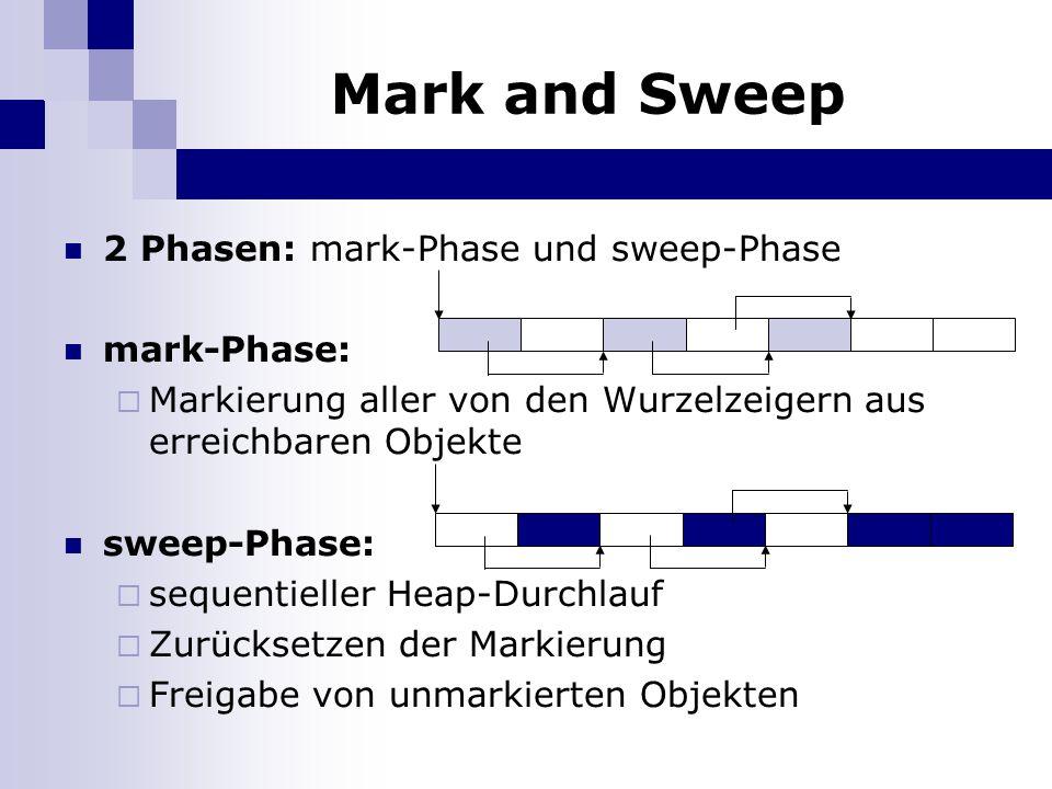 Mark and Sweep 2 Phasen: mark-Phase und sweep-Phase mark-Phase: Markierung aller von den Wurzelzeigern aus erreichbaren Objekte sweep-Phase: sequentieller Heap-Durchlauf Zurücksetzen der Markierung Freigabe von unmarkierten Objekten