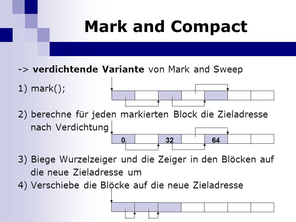 Mark and Compact -> verdichtende Variante von Mark and Sweep 1) mark(); 2) berechne für jeden markierten Block die Zieladresse nach Verdichtung 3) Biege Wurzelzeiger und die Zeiger in den Blöcken auf die neue Zieladresse um 4) Verschiebe die Blöcke auf die neue Zieladresse 03264