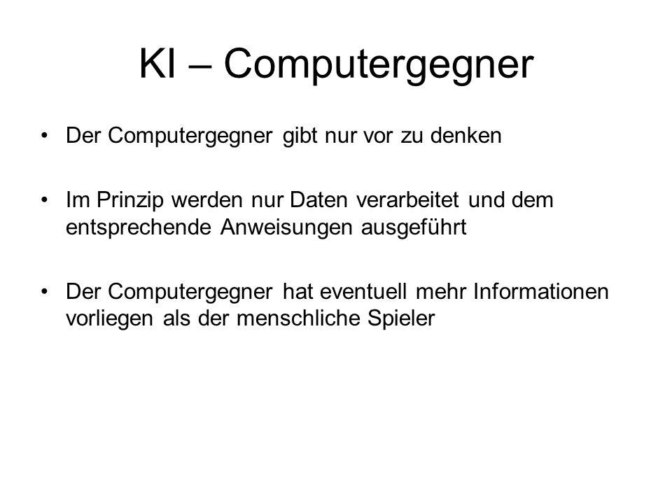 KI – Computergegner Der Computergegner gibt nur vor zu denken Im Prinzip werden nur Daten verarbeitet und dem entsprechende Anweisungen ausgeführt Der