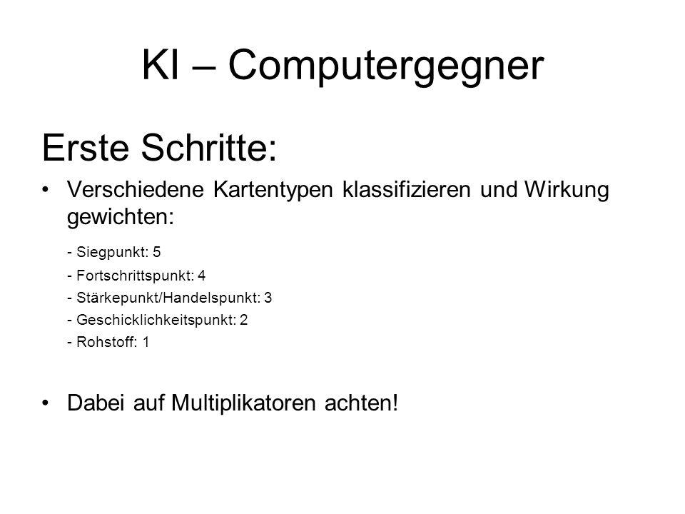 KI – Computergegner Erste Schritte: Verschiedene Kartentypen klassifizieren und Wirkung gewichten: - Siegpunkt: 5 - Fortschrittspunkt: 4 - Stärkepunkt
