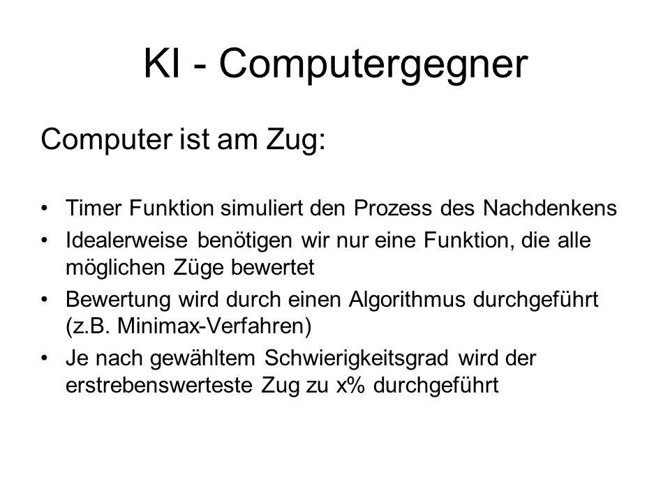 KI - Computergegner Computer ist am Zug: Timer Funktion simuliert den Prozess des Nachdenkens Idealerweise benötigen wir nur eine Funktion, die alle m