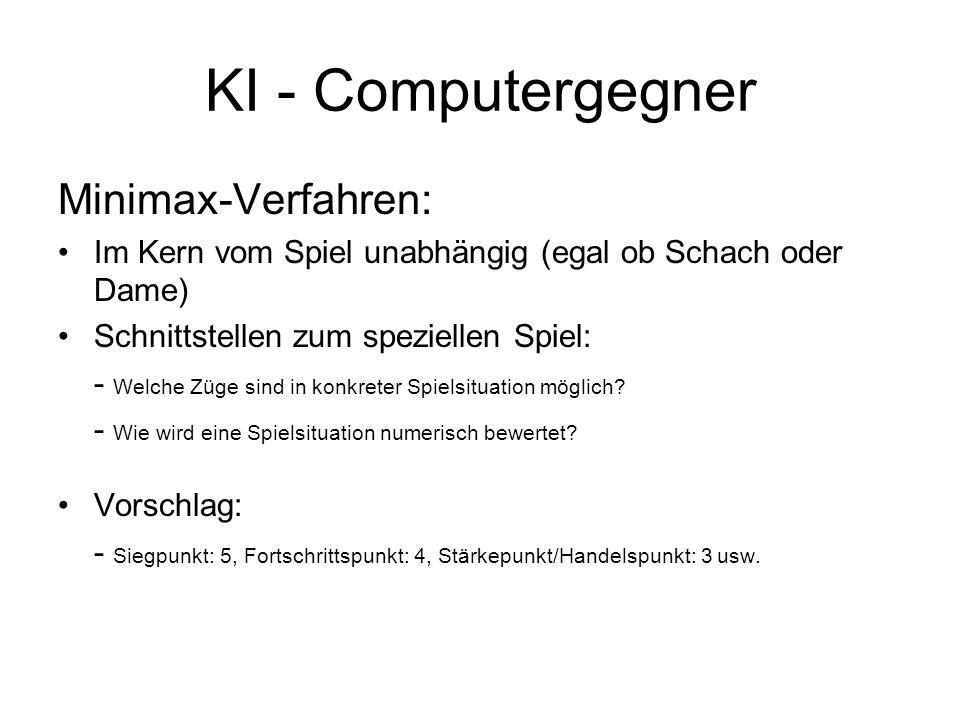 KI - Computergegner Minimax-Verfahren: Im Kern vom Spiel unabhängig (egal ob Schach oder Dame) Schnittstellen zum speziellen Spiel: - Welche Züge sind