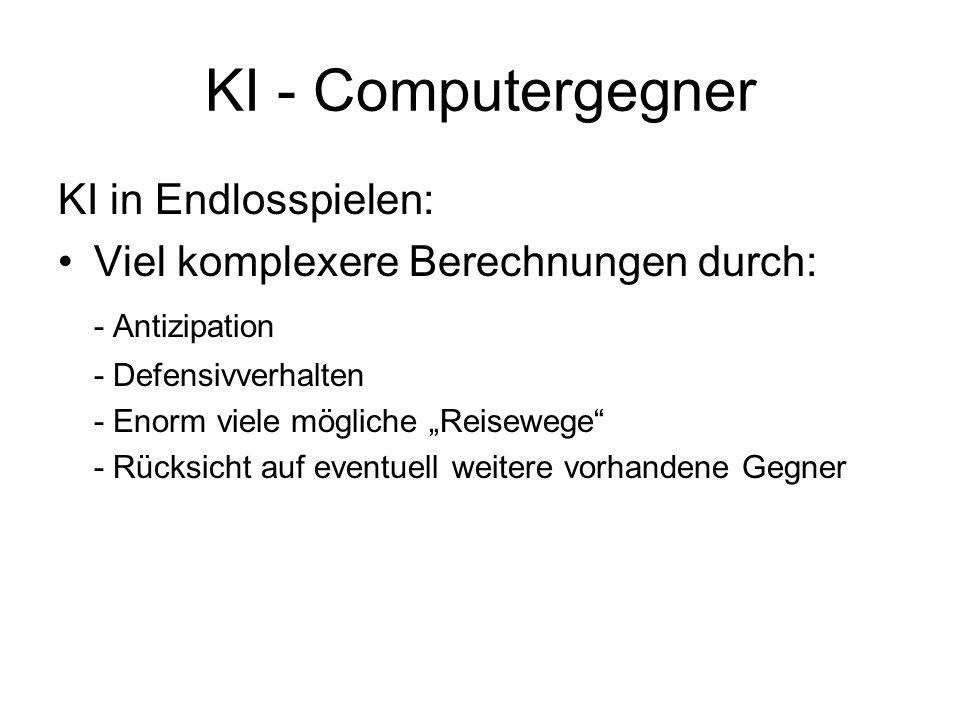 KI - Computergegner KI in Endlosspielen: Viel komplexere Berechnungen durch: - Antizipation - Defensivverhalten - Enorm viele mögliche Reisewege - Rüc