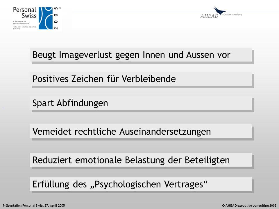 AHEAD executive consulting 2005 Präsentation Personal Swiss 27. April 2005 Reduziert emotionale Belastung der Beteiligten Beugt Imageverlust gegen Inn
