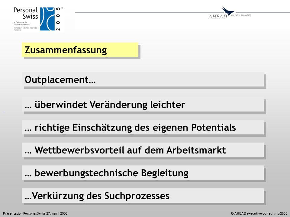 AHEAD executive consulting 2005 Präsentation Personal Swiss 27. April 2005 Zusammenfassung Outplacement… …Verkürzung des Suchprozesses … Wettbewerbsvo
