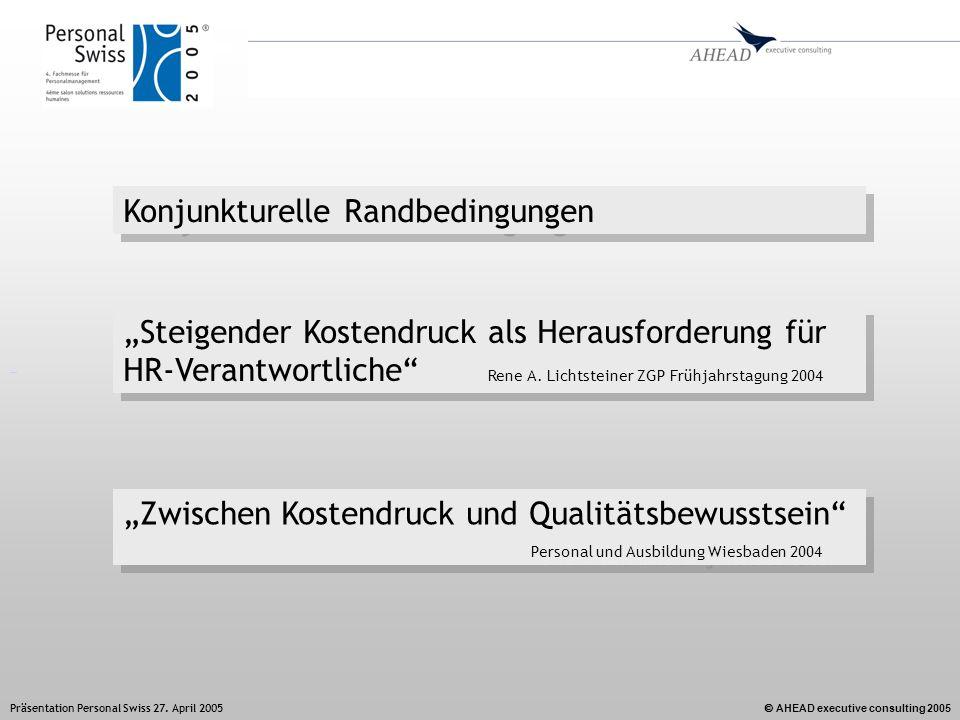 AHEAD executive consulting 2005 Präsentation Personal Swiss 27. April 2005 Steigender Kostendruck als Herausforderung für HR-Verantwortliche Rene A. L