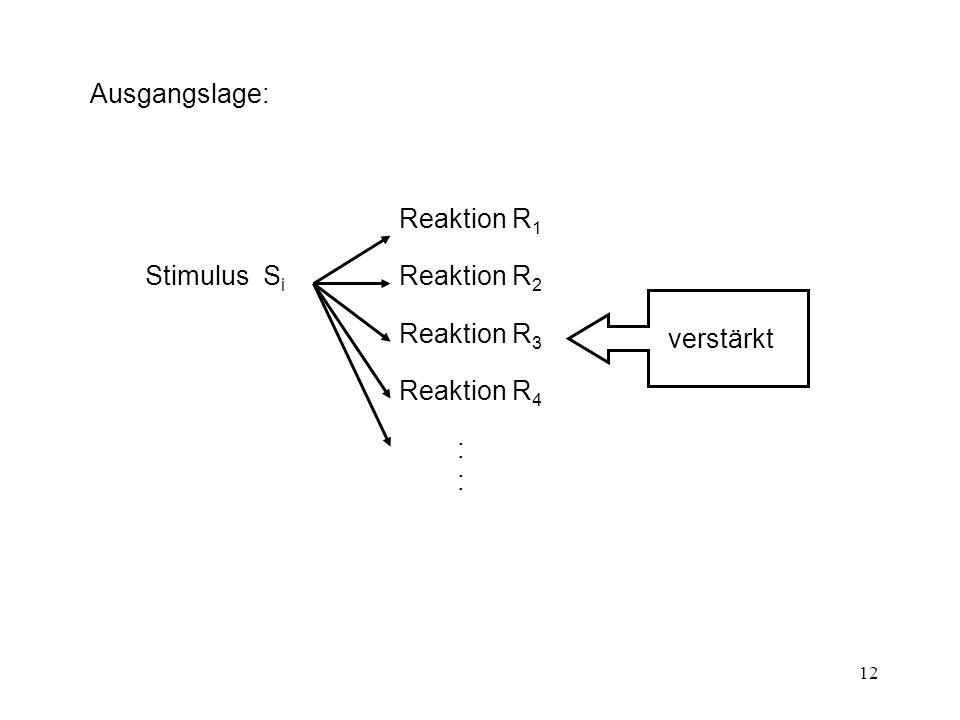 12 Ausgangslage: Stimulus S i verstärkt Reaktion R 1 Reaktion R 2 Reaktion R 3 Reaktion R 4 ::::