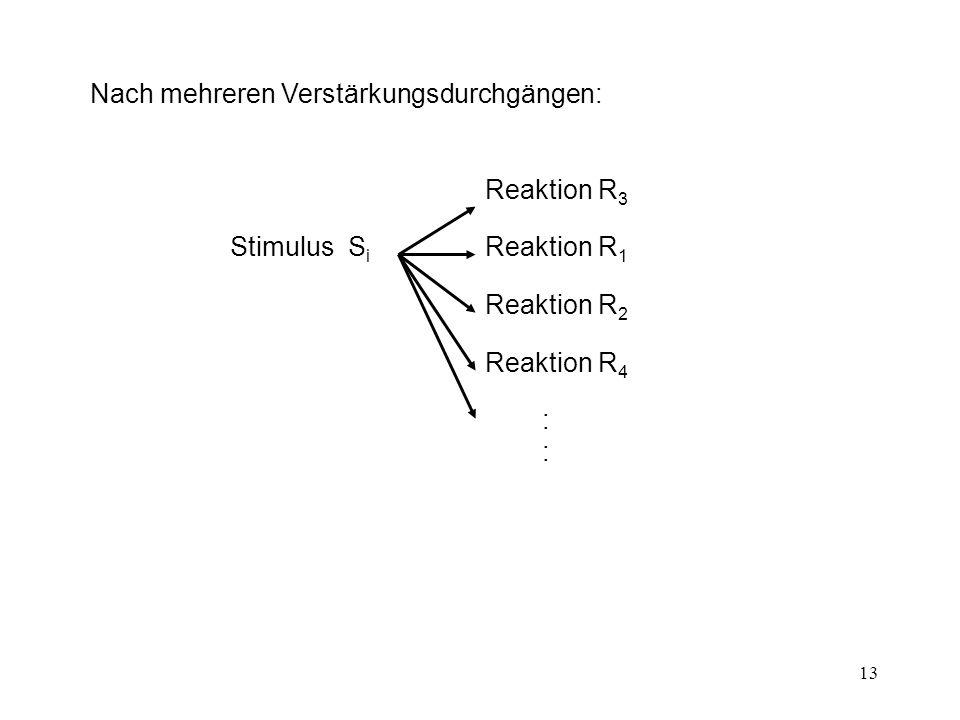 13 Nach mehreren Verstärkungsdurchgängen: Stimulus S i Reaktion R 3 Reaktion R 1 Reaktion R 2 Reaktion R 4 ::::