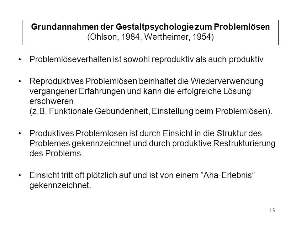 19 Grundannahmen der Gestaltpsychologie zum Problemlösen (Ohlson, 1984, Wertheimer, 1954) Problemlöseverhalten ist sowohl reproduktiv als auch produkt