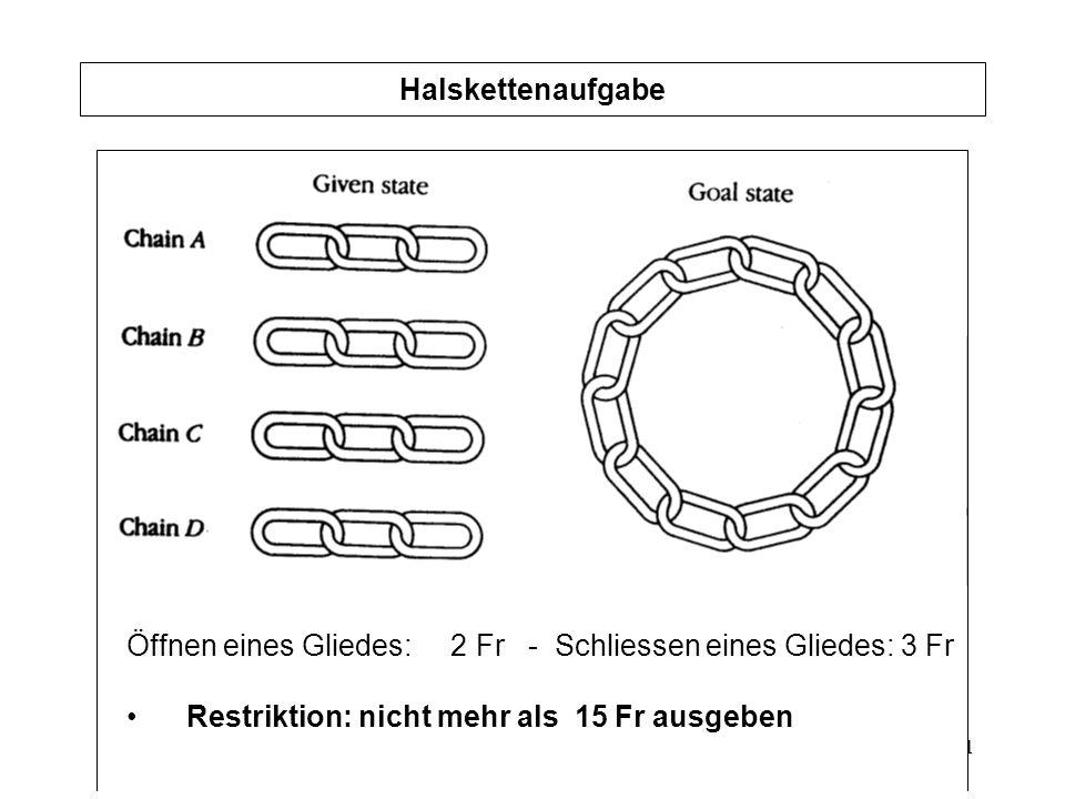 21 Halskettenaufgabe Öffnen eines Gliedes: 2 Fr - Schliessen eines Gliedes: 3 Fr Restriktion: nicht mehr als 15 Fr ausgeben