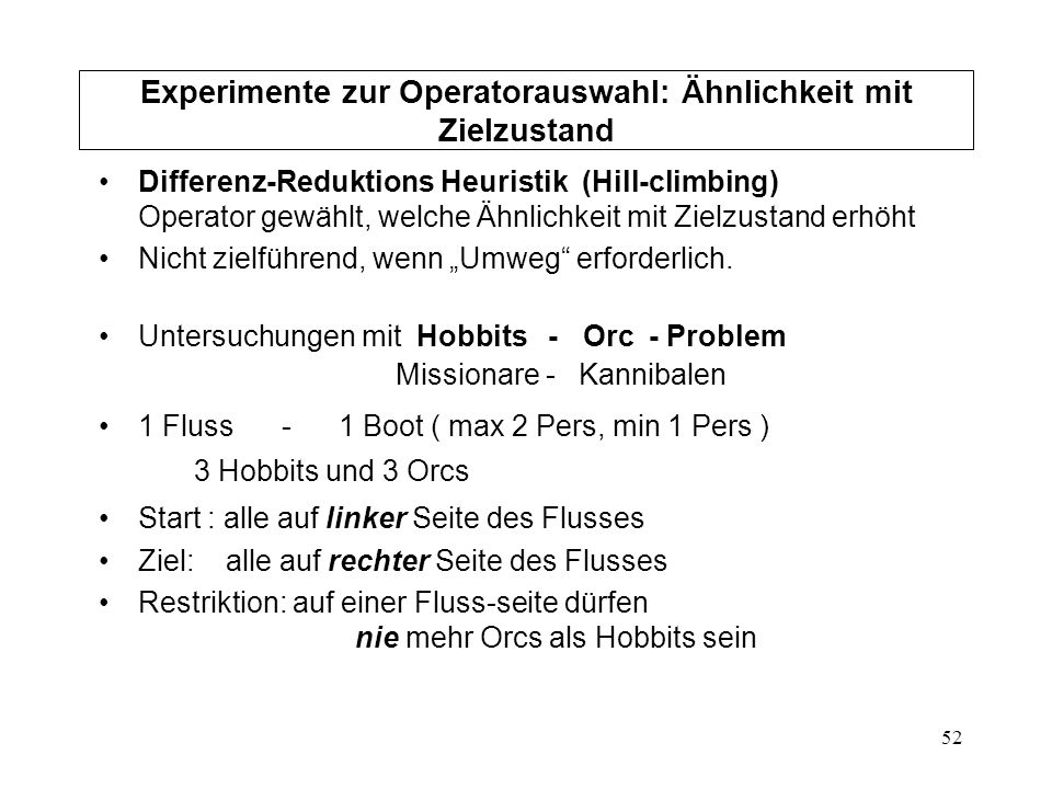 52 Experimente zur Operatorauswahl: Ähnlichkeit mit Zielzustand Differenz-Reduktions Heuristik (Hill-climbing) Operator gewählt, welche Ähnlichkeit mi