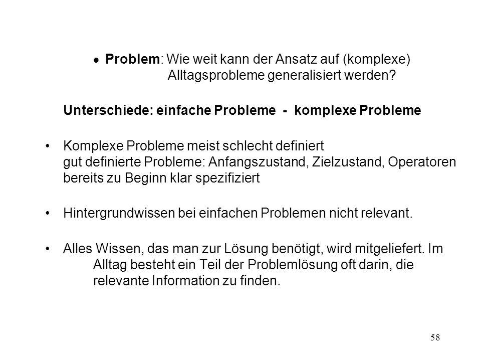 58 Problem: Wie weit kann der Ansatz auf (komplexe) Alltagsprobleme generalisiert werden? Unterschiede: einfache Probleme - komplexe Probleme Komplexe