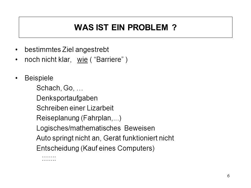 6 WAS IST EIN PROBLEM ? bestimmtes Ziel angestrebt noch nicht klar, wie ( Barriere ) Beispiele Schach, Go, … Denksportaufgaben Schreiben einer Lizarbe