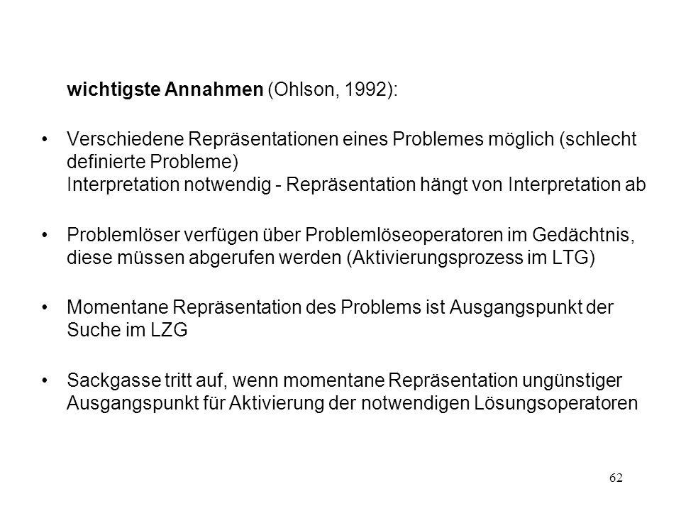 62 wichtigste Annahmen (Ohlson, 1992): Verschiedene Repräsentationen eines Problemes möglich (schlecht definierte Probleme) Interpretation notwendig -